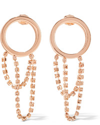 Maison Margiela Rose Gold Plated Crystal Hoop Earrings One Size