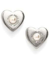 Marc by Marc Jacobs Marc Jacobs Faux Pearl Heart Stud Earrings
