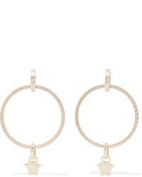Versace Medusa Gold Tone Hoop Earrings
