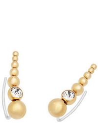 Michael Kors Michl Kors Golden Crystal Stud Crawler Earrings