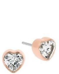 Michael Kors Michl Kors Modern Brilliance Crystal Heart Stud Earringsrose Goldtone