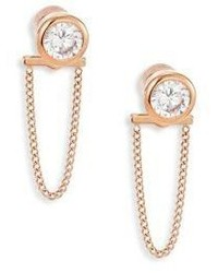 Michael Kors Michl Kors Brilliance Crystal Chain Front Back Stud Earringsrose Goldtone