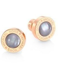 Michael Kors Michl Kors Grey Mother Of Pearl Logo Stud Earrings