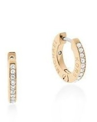 Michael Kors Michl Kors Haute Pave Hoop Earrings05 Goldtone