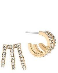 Michael Kors Michl Kors Modern Brilliance Crystal Pave Huggie Earringsgoldtone