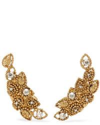 Oscar de la Renta Millegrain Petal Gold Plated Crystal Clip Earrings