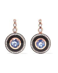 Selim Mouzannar Mina 18 Karat Gold Enamel Diamond And Sapphire Earrings