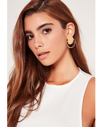 Missguided Circle Geometric Earrings Gold
