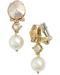 Miu Miu Classic Crystal Faux Pearl Drop Earrings