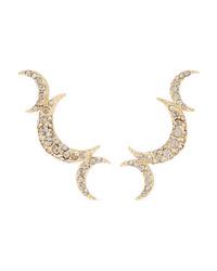 Isabel Marant Moon Gold Tone Crystal Earrings