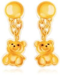 Moschino Teddy Bear Neoprene Clip On Earrings