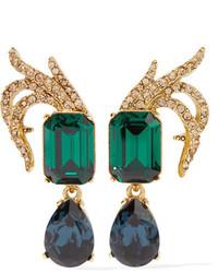 Oscar de la Renta Gold Plated Swarovski Crystal Clip Earrings One Size