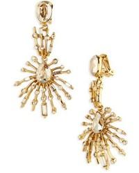 Oscar de la Renta Oscar De Le Renta Radial Crystal Clip Earrings