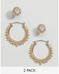 Asos Pack Of 2 Triangle Etched Hoop Stud Earrings