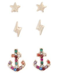 Topshop Pack Of 3 Star Lightning Anchor Stud Earrings