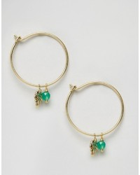 Orelia Palm Leaf Bead Charm Hoop Earrings