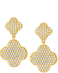Freida Rothman Pave Crystal Clover Double Drop Earrings