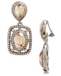 Oscar de la Renta Pave Deco Clip Earrings