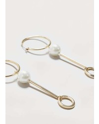 Violeta BY MANGO Pearl Bead Hoops Earrings