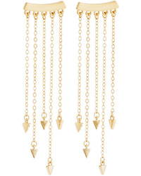 Rebecca Minkoff 12k Gold Plated Bar Fringe Climber Earrings