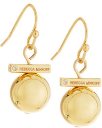Rebecca Minkoff 12k Gold Plated Small Bead Drop Earrings