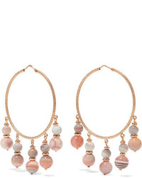 Carolina Bucci Recharmed 18 Karat Rose Gold Agate Hoop Earrings