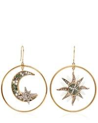 Roberto Cavalli Sun Moon Swarovski Hoop Earrings