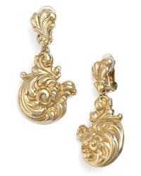 Oscar de la Renta Rococo Swirl Clip Earrings