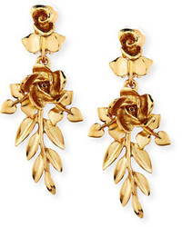 Oscar de la Renta Rose And Leaf Vine Drop Earrings