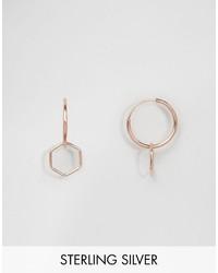 Asos Rose Gold Plated Sterling Silver Hexagon 9mm Hoop Earrings
