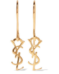 Saint Laurent Gold Plated Earrings One Size