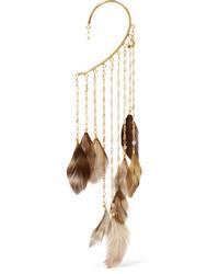 Rosantica Selva Gold Tone Feather And Bead Ear Cuff