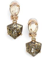 Oscar de la Renta Shield Crystal Clip Earrings