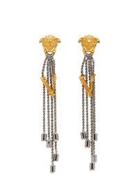 Versace Silver Bi Color Vitrus Earrings