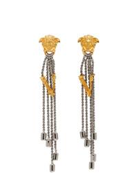 Versace Silver Bi Color Vitrus Earrings