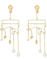 Aurelie Bidermann Siroco Pearls Leaves Earrings