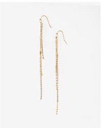 Express Stacked Rhinestone Linear Drop Earrings
