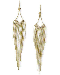 Steve Madden Gold Tone Graduated Fringe And Crystal Accent Chandelier Earrings