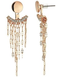 GUESS Stud And Front Back Earrings With Chain Fringe Earring