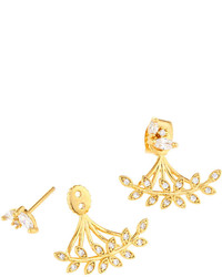 Tai Golden Mixed Cz Crystal Leaf Jacket Earrings