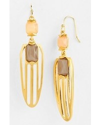 Vince Camuto Ethereal Statet Stone Drop Earrings Peach Dune Brushed Gold