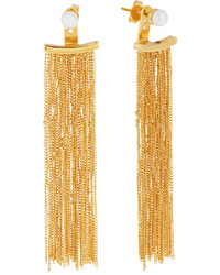 Vita Fede Gold Dipped Pearl Fringe Drop Earrings