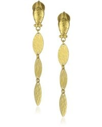 Gurhan Willow High Karat Gold Triple Leaf Drop Earrings 188