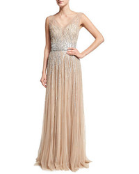 Pamella Roland Sleeveless Embellished Tulle Gown Gold
