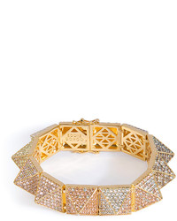 Eddie Borgo Gold Plated Pyramid Bracelet With Crystal Embellisht