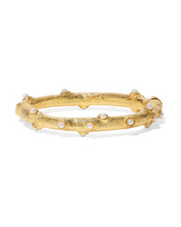Kenneth Jay Lane Gold Tone Faux Pearl Bangle