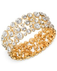 Guess Bracelet Gold Tone Crystal Bubble Stretch Bracelet