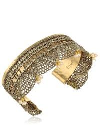 Mercedes Salazar Gold Embellished Hammered Cuff Bracelet