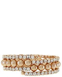 Cezanne Rhinestone Faux Pearl Coil Bracelet
