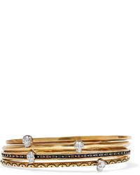 Alexander McQueen Set Of Four Gold Tone Embellished Bracelets One Size